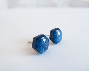 Navy Blue Shimmer Hexagon Stud Earrings - Hypoallergenic Surgical Steel Posts