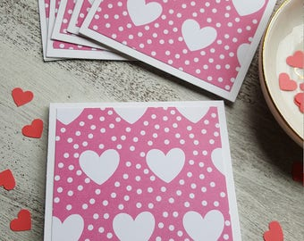 Mini Cards // Set of 6 // Heart Note Cards // 3x3 Cards // Thank You Cards // Valentine's Day Cards