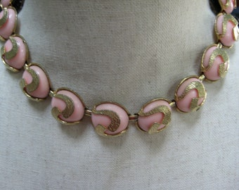 Vintage Choker Necklace, Lucite Thermoset, Pink Gold Tone, Textured Adjustable, Reuse Reclaimed, Gift for Her, Vintage Jewelry