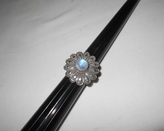 Vintage Sterling Silver Large Flower with Moonstone Center Ring, Size 9 1/4