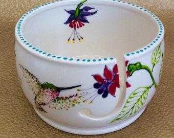 Hummingbird Yarn Bowl With Fuschias