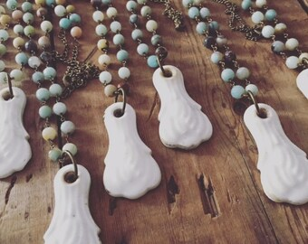 Vintage Ceramic Key Hole Necklace