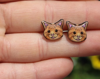 Tabby cat  Earring : great gift for cat lovers Tabby cat loss memorial Hypoallergenic stainless steel posts