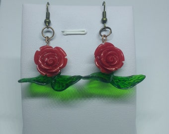 Red rose with leaves retro earrings