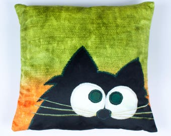 Cat cushion - 'Tangerine Dream' - Cute cat - Black Cat - Printed cushion - Velvet cushion - Quirky gift - Unique gift