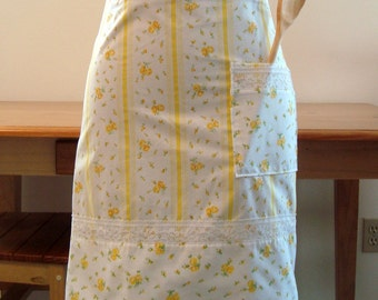 Upcycled Apron- Yellow Flowers