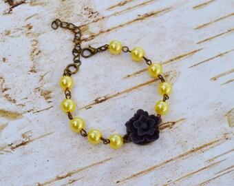 SALE - Purple Sakura Pearls Bracelet, Vintage Flower Pearls Adjustable Bracelet, Wedding Bridal Bridesmaid Bracelet