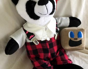 "NEW! Mark 'A' Bear, Wilford Warfestache, OOAK and Ready to Ship! 11"" Tall Fuzzy Panda Bear Toy, Markiplier inspired! Youtuber Geekery Plush"