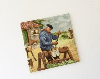 Vintage Dutch Tile Royal Mosa Holland, Dutch Clog Maker, Netherlands Souvenir Tile, Decorative Dutch Tile