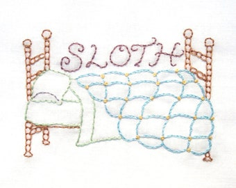 Sloth Comfy Bed Hand Embroidery Pattern PDF: Seven Deadly Sins Collection