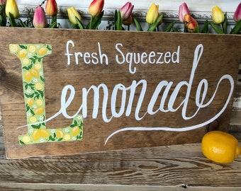Fresh squeezed lemonade sign, handlettered sign, lemonade sign, wood sign