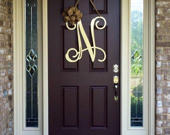 Metal Initial door wreath w/ ribbon, Front Door Wreaths, Monogram Door Hanger, Monogrammed Wreath, Front Door Letters, Outdoor Wreath, Decor