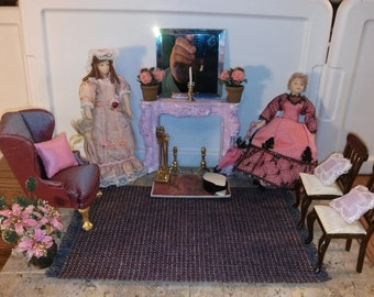 High Quality Dollhouse Furniture living room set lot hand painted faux marble fireplace vintage Bespaq chairs Hansson wingback 2 dolls 1/12