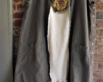 Linen Frayed Tunic/ Cotton Homespun/ Tattered and Ruffled/ Snippets of the Past Brooch/ One Size Dress/ 4-5X Funwear/ Sheerfab Handmade