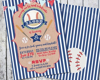 Baseball Sports Birthday Invitation - Printable Invite Boy or Girl Printable Digital file or Printed Invites Colors can be changed