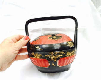 RED and BLACK Lacquer Basket Box Asian Vintage Round   Box with Hand Painted gold accents long handle