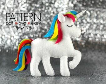 Unicorn Pattern Unicorn SVG PDF Unicorn Pattern Unicorn Plush Felt Unicorn Party Favors Unicorn Toy Unicorn Ornament Unicorn Decor