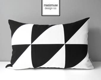 Decorative Black & White Outdoor Pillow Cover, Modern Pillow Cover, Color Block, Art Deco, Geometric Sunbrella Cushion Cover, Mazizmuse