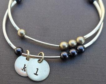 Birthstone Pearls Bangle Bracelet - Personalized Initial and Name Bracelet- Custom Bracelet -B-12