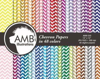 Chevron papers, Chevron Digital paper, 48 Chevron backgrounds, commercial use, scrapbooking backgrounds, AMB-530