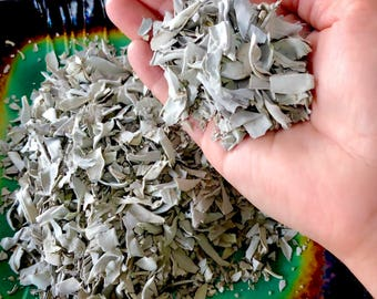 Organic White Sage Leaf Pieces - Sold by the Ounce - Sage Crumbles - Crushed Sage - Sage for Smudging Bowls - Sage for Sachets - Alter Sage