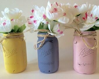Large painted mason jars, hand distressed jars, distressed mason jar set, quart mason jars, jar centerpiece, hand painted mason jar set