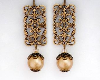 Gold Swarovski Crystal Pearls, Antiqued Brass Earring, Gold Pearl Earring Dangle, Filigree Earring Drop, Pearl Jewelry, Gift for Her, Felipa