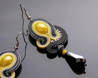 Lemon graphite Soutache earrings with Hematite.