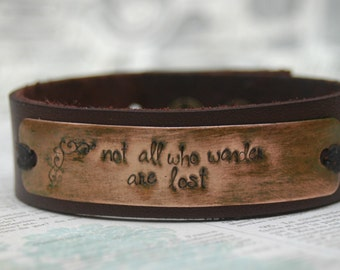 "Leather Hand Stamped Cuff Bracelet - ""Not All Who Wander Are Lost"" By Inspired Jewelry Designs"
