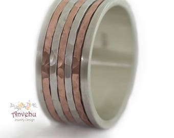 Mens Ring hammered Wedding ring Wide wedding Band Two Tone wedding ring Gold and Silver Wedding band Women Wedding ring