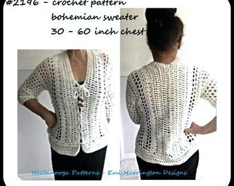 Crochet Pattern, Bohemian Pullover, sleeveless top, or Cardigan Sweater or Vest, #2196, women's clothing, extended plus size, Hectanooga