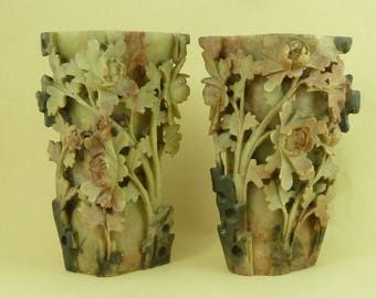 "Pair 6"" Chinese Hand Carved Soapstone Peony Flower Vases Antique"