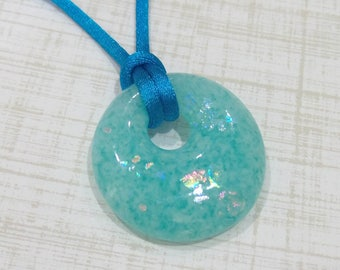Aqua Blue Pendant, Donut Necklace, Fused Glass Jewelry, Ready to Ship, Gifts Under 20  - Summer - -6