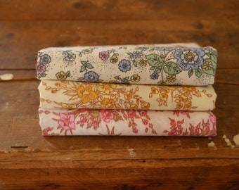 Vintage Fabric Fat Quarters, Pink Blue Yellow Brown Floral Vintage, Fabric Pack