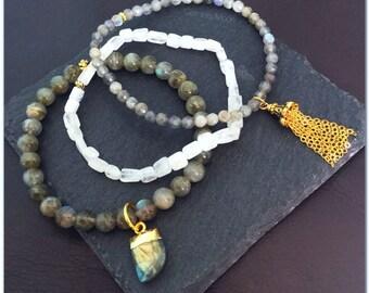 Labradorite and Rainbow Moonstone Bracelet Stack. Labradorite Bracelet. Rainbow Moonstone Bracelet. Gift for her. Bracelet Trio Bracelet Set