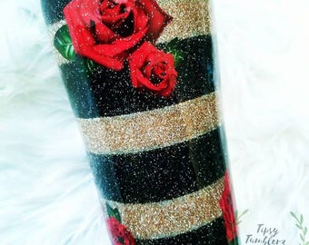 Striped Glitter Black Gold Red Roses Stainless Steel Tumbler/yeti/mug/cup/tea/coffee/gift/for her/girlfriend/best friend/mothers day/sister