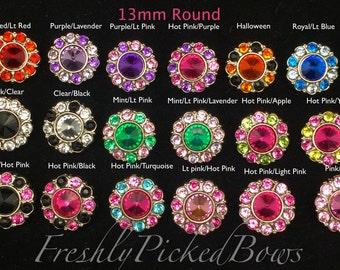 5 MULTI Acrylic Rhinestone buttons size 13mm YOU choose