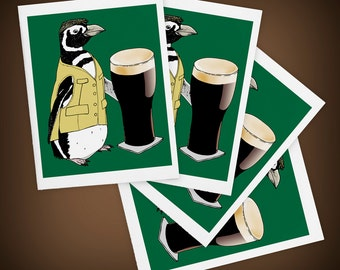 Beer Penguin, Bird, Ireland, Size A2 Blank Greeting Cards Set of Four, Mini Art, Green, I'll Have a Pint, St. Patrick's Day, Matte Finish