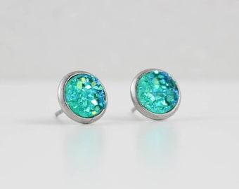 Tidal Teal Druzy Crystal Earrings | ATL-E-199