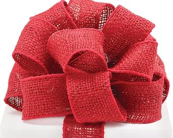 "New 2"" Red Burlap Ribbon, Wired Burlap Ribbon 1 yard."