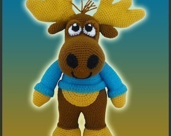 Amigurumi Pattern Crochet Nelson Moose DIY Digital Download