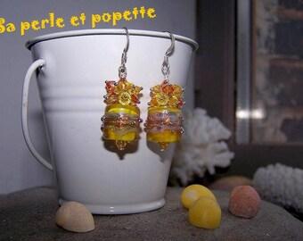 """""""Summer sun"""" earrings Lampwork Glass"""