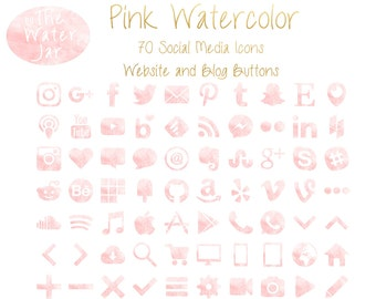 Pink Watercolor Social Media Icons Social Icons, Millennial Pink Website & Blog Resources,  Blog buttons