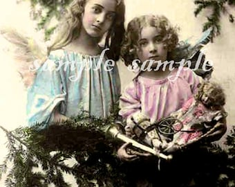 VINTAGE Victorian Angels photo instant DIGITAL DOWNLOAD Beautiful Little Girls Angels Edwardian Girls Religious Holy Cards Art Print