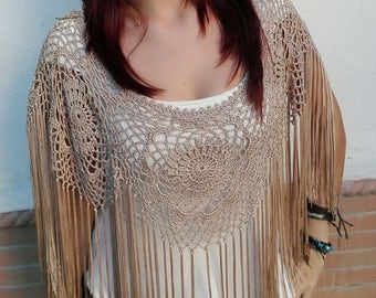 Crochet Poncho in camel color, you can use it as a complement to a flamenco or party costume, you will get a special and original look