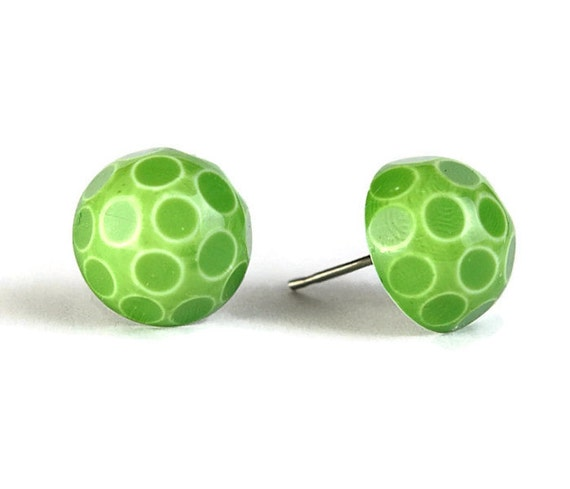 Sale Clearance 20% OFF - Green white polka dot cameo surgical steel hypoallergenic stud earrings READY to ship (340)