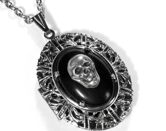 Steampunk Locket, Silver Skull Locket Necklace, Gothic BLACK Cabochon, Harley Rider, Rocker Punk, LAST ONE - So AWESOMe - Steampunk Boutique