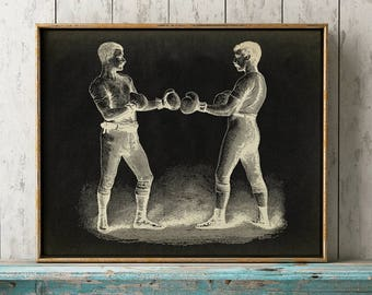 BOXING POSTER art print on black background, male sport wall art, vintage Boxing art, victorian men fighting in black and white, sepia color