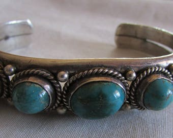 Sterling Silver and Turquoise Cuff Bracelet with Five Stones
