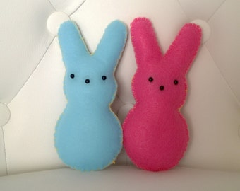 FREE US SHIPPING Kawaii Peeps Bunny Rabbit Plush Stuffed Animal Doll Cloth Plushie Soft Softie Cute Ooak Gift Holiday Small Blue Pink Easter